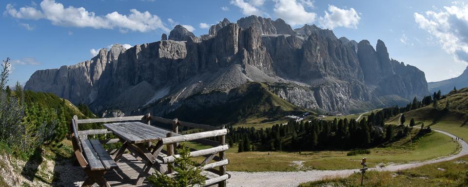 Panoramafoto: Sellamassiv - Dolomiten