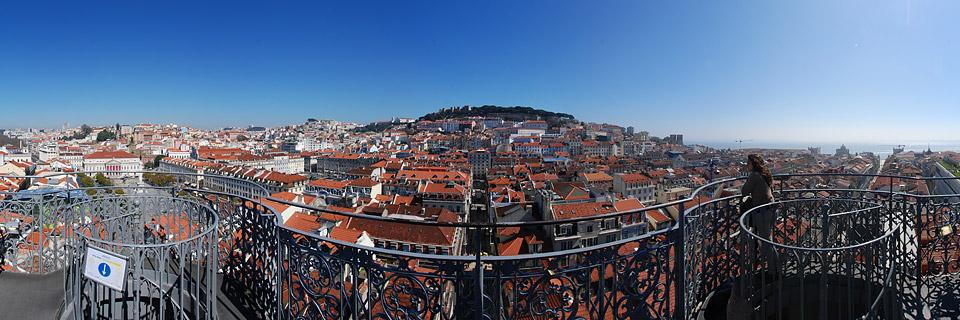 Panoramafoto: Elevador de Santa Justa - Lissabon