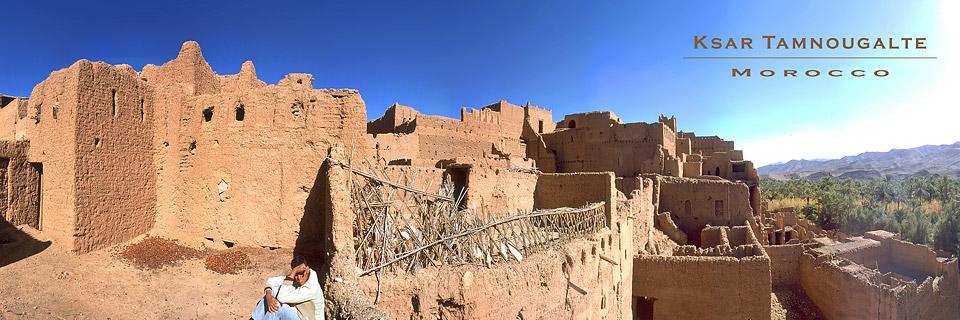 Panoramafoto: Ksar Tamnougalte, Draa-Tal - Marokko
