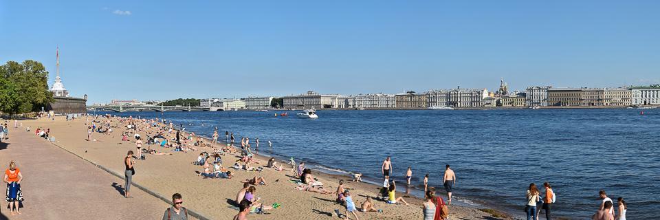 Panoramafoto: Newa Strand vor der St. Peter und Paul Festung - Sankt Petersburg